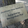 Tribune-Star/Rachel Keyes<br /> Beautiful downtown: A prototype of the name plates that will be place inside of the flower beds as part of a project to beautify downtown.