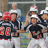 Tribune-Star/Rachel Keyes<br /> Homerun: Teammates congratulate Bailey Barnes after hitting a homerun  in action Saturday.