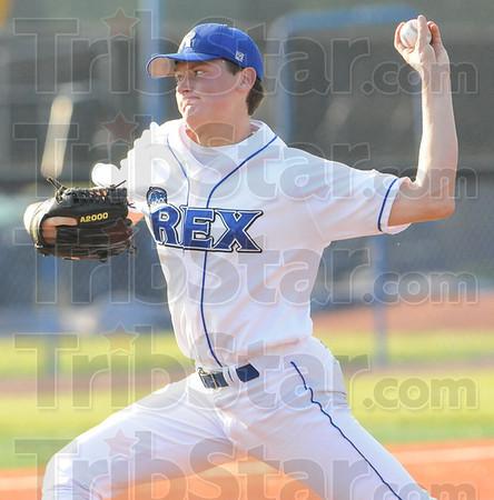 Tribune-Star/Rachel Keyes<br /> Battling at the mound: The Terre Haute Rex's Chris Nann prepares to throw a strike.
