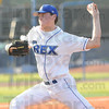 Tribune-Star/Rachel Keyes<br /> Battling at the mound: The Terre Haute Rex's Chris Nann prepares to throw a strike.
