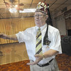 Tribune-Star/Rachel Keyes<br /> Historic tours: Past Potentate Ron Smith talks to a group of people about the history of the Zorah Shriners.