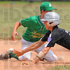 Tribune-Star/Jim Avelis<br /> Lost ball: Hunter Wolfe dives safely into second base as Edgewood's Aaron Matthews looses the handle on the ball.