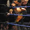 Tribune-Star/Rachel Keyes<br /> Get off my back: Randy Orton rolls off the back of Christian at Smackdown on Sunday night at Hulman Center.