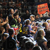 Tribune-Star/Rachel Keyes<br /> Cheering and jeering: Fans a the WWE Smackdown match cheer on Randy Orton Sunday night at Hulman Center.