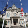 Half staff: The flags at the Vigo County Courthouse are at half staff in honor of fallen police officer Brent Long.