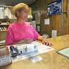 Tribune-Star/Jim Avelis<br /> Relief: Brenda Shidler, Post Master Relief, talks with Tribune-Star reporter Brian Boyce about the effects that might occur  were the Lewis post office to close.