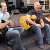 Musical ministry: Justin Hoeppner and Scot Longyear have a light moment while discussing their impending trip the Congo.
