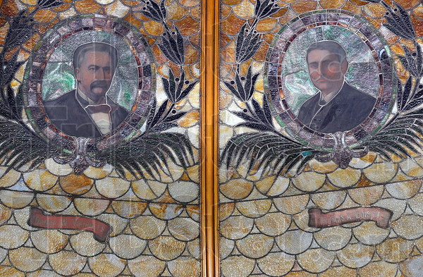 Tribune-Star/Jim Avelis<br /> Remembered: Daniel Voorhees is remembered in stained glass next to Thomas Edison in the ceiling of the old Emiline Fairbanks Library, now Fairbanks Hall, used by the art department on the Indiana State University campus