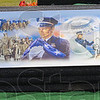 Tribune-Star/Jim Avelis<br /> Unchanging: Scenes of law enforcement officers over the years adorn the top of the vault that holds Brent Long's casket.