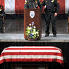 Partners: Sgt. Terry John and Sgt. Todd Haller talk about their memories of officer Brent Long durng Monday's funeral at Hulman Center.