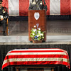 Rememberances: Terre Haute Chief of Police John Plasse talks about his many memories of officer Brent Long during Monday's funeral services at Hulman Center.