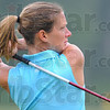 Tribune-Star/Jim Avelis<br /> Driven: Cara Stuckey watches a drive in her championship round Monday morning.