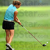 Tribune-Star/Jim Avelis<br /> Launched: Cara Stuckey hits a tee shot on the front nine.