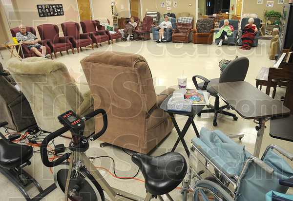 "Tribune-Star/Jim Avelis<br /> Filling a need: Many of the chairs at McMillan Adult Daycare sit empty near the end of the day Thursday. On a typical day, about 15 clients make use of the services there. ""Our population is growing older in Vigo County,"" although the growth is more pronounced in surrounding counties, said Carol Rogers, deputy director of the Indiana Business Research Center."