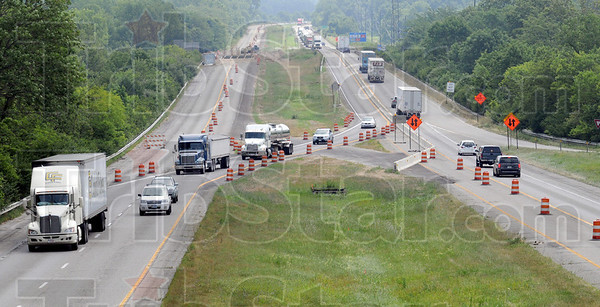 Construction zone: I-70 traffic detours around bridge construction in the westbound lane of the highway Tuesday afternoon.
