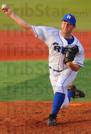 Tribune-Star/Jim Avelis<br /> Bringing it: Cody Wren delivers a pitch in the Rex game with Dekalb County Tuesday evening.