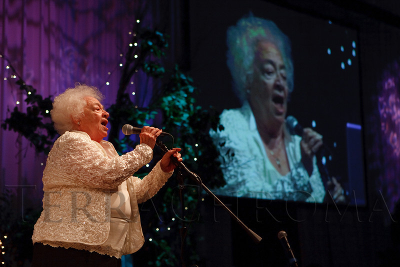 """(Denver, Colorado, July 16, 2011)<br /> Gloria Adkins sings """"America the Beautiful.""""  Jeremy Bloom's Wish of a Lifetime foundation third annual """"The Evening Affair,"""" themed """"A Midsummer Night's Wish,"""" at the Donald R. Seawell Grand Ballroom, Denver Center for Performing Arts, in Denver, Colorado, on Saturday, July 16, 2011.<br /> STEVE PETERSON"""