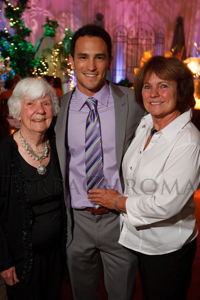 """(Denver, Colorado, July 16, 2011)<br /> Donna Wheeler (JB grandmother), Jeremy Bloom, and Char Bloom (JB mother).  Jeremy Bloom's Wish of a Lifetime foundation third annual """"The Evening Affair,"""" themed """"A Midsummer Night's Wish,"""" at the Donald R. Seawell Grand Ballroom, Denver Center for Performing Arts, in Denver, Colorado, on Saturday, July 16, 2011.<br /> STEVE PETERSON"""