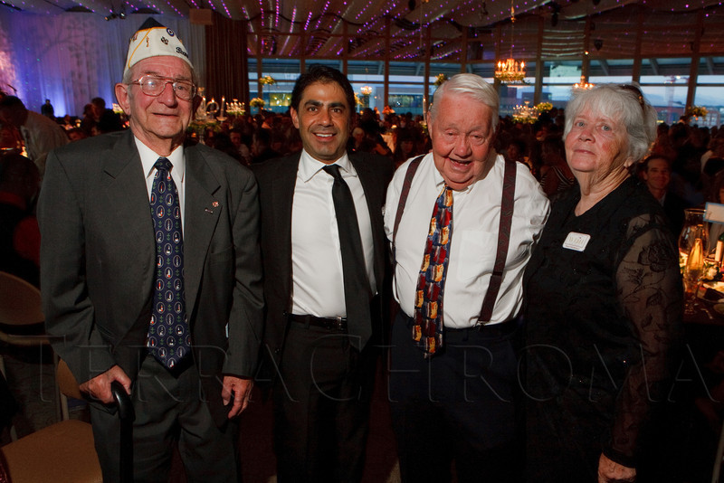 """(Denver, Colorado, July 16, 2011)<br /> Milt Mapou, Kevin Medina, Jack Taylor (brother-in-law to Mapou), and Dixie Appenzeller (JBWOL senior board of advisors member).  Jeremy Bloom's Wish of a Lifetime foundation third annual """"The Evening Affair,"""" themed """"A Midsummer Night's Wish,"""" at the Donald R. Seawell Grand Ballroom, Denver Center for Performing Arts, in Denver, Colorado, on Saturday, July 16, 2011.<br /> STEVE PETERSON"""
