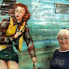 "Bomber art: Patricia Angrick had her vintage RV painted with the ""Sisters on the Fly"" mural."