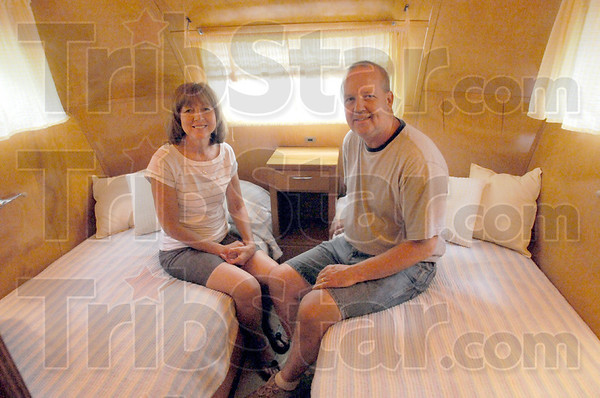 Vintage RV: Kevin and Marcia Reabe of Bloomington, Ill. are camping at Fowler Park in their 1951 Spartan Imperial Mansion.