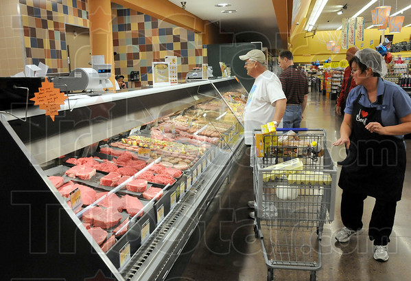 Meats: The meat department displays quality items during Thursday's grand opening event at the north Kroger store.