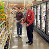 "Organic: Kroger store manager Kevin Lozier shows the new ""organic foods"" section of the newly remodeled north store to Tribune-Star reporter Arthur Foulkes Thursday afternoon."
