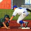 Tribune-Star/Jim Avelis<br /> Stick with it: Jordan Pearson(2) stays with the tag of Dans baserunner Brayden Jones for an out. Jones overan the bag at second base attempting a steal.