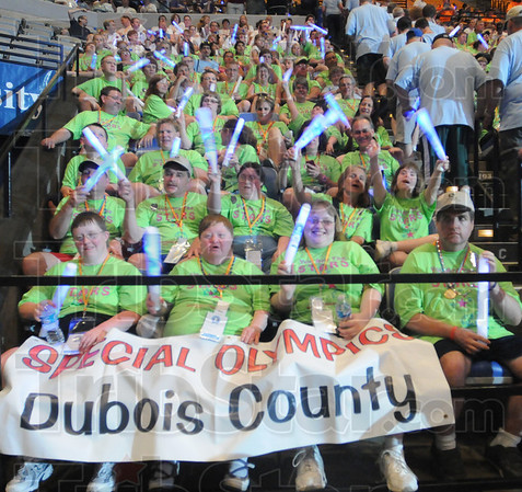 Tribune-Star/Rachel Keyes<br /> Represent: Dubois County Indiana brought 28 athletes to Terre Haute to compete in the Indiana Special Olympics.