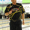Tribune-Star/Rachel Keyes<br /> Yes: Derek Sapp celebrates after knocking down a strike in early rounds of the Annual Terre Haute Open hosted by the Terre Haute Bowling Center.