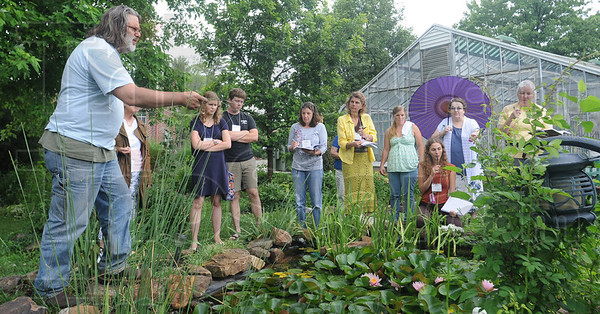 Tribune-Star/Rachel Keyes<br /> Herbs at the Woods: Registered Herbalist Matthew Woods takes students from his seminar on a herb walk around the St. Mary-of-the-Woods campus Sunday as part of a course on Medical Herbalism hosted by the St. Mary-of-the-Woods Violet Center.