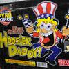 Flaming balls: Detail photo of Hoosier Daddy fireworks box.