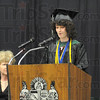 Tribune-Star/Rachel Keyes<br /> Hats off: West Vigo's Co-Valedictorian Sarah Tennis addresses the class of 2011 in a speech Sunday Afternoon.
