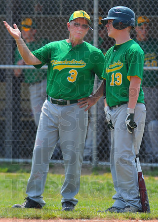 Tribune-Star/Jim Avelis<br /> Advice: North Central coach Craig Grow talks with Nolan Kinnett during a break in the action in their regional win over Rising Sun Saturday.