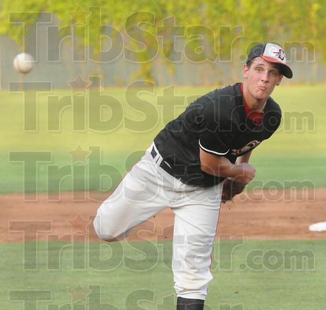 Tribune-Star/Rachel Keyes<br /> Strike: Terre Haute South's James Maxwell throws a strike in action Saturday.