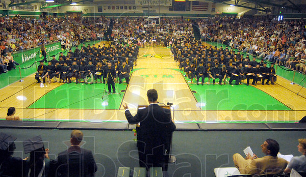 Tribune-Star/Rachel Keyes<br /> Proud of you: West Vigo's Principal Thomas Balitewicz expresses his pride for the class of 2011 at West Vigo's Commencement Ceremony Sunday afternoon.