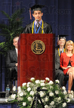 Tribune-Star/Rachel Keyes<br /> On top: One of Terre Haute South's Valedictorians Joseph Botros speaks at Commencement Ceremonies a Hulman Center.
