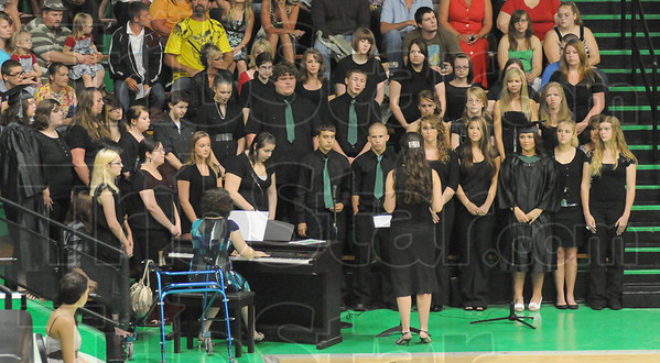 "Tribune-Star/Rachel Keyes<br /> Last song: The West Vigo choir sings ""For Good"" By Stephen Schwartz at the 2011 Commencement Ceremony held Sunday."
