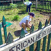 Heirloom garden: Kellog's employees Mildred Grimsley and Mike Lebeda work weeding the Native American Heirloom Garden at Dobbs Park Friday during the Day of Action event.