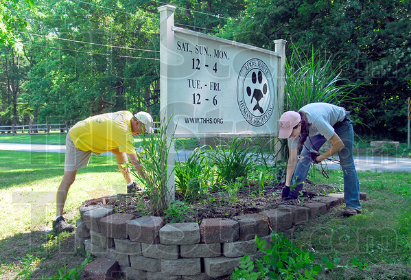 Got weeds?: Volunteers Mark Williamson and Morgan McMillian pull weeds around the sign of the Terre Haute Humane Shelter Friday morning as the participate in the Day of Action.