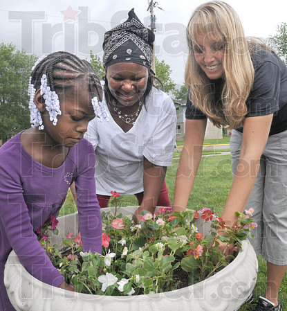 Beauty: Six-year-old Ayanna Minor (L), Tawana Dobson and Kenna Lemay plant flowers during Friday's beautification event in the Lockport housing project.