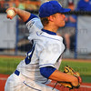 Tribune-Star/Jim Avelis<br /> Starter: Christian Slaznik of Eastern Ilinois University and St. Louis Mo. started on the mound for Brian Dorsetts' Terre Haute REX Friday evening.