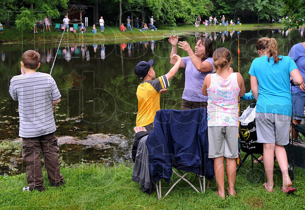 Baited: Scores of fishermen and women enjoyed the annual Fishing Rodeo at Dobbs Park Saturday morning.