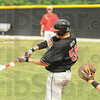 Tribune-Star/Rachel Keyes<br /> Going down swinging: Terre Haute South's A.J. Reed goes down swinging at his last at bat as a Brave.