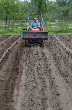 Tribune-Star/Jim Avelis<br /> Hilling: David Illyes creates hills for potatoes in the organic gardens at St. Mary-of-the-Woods.