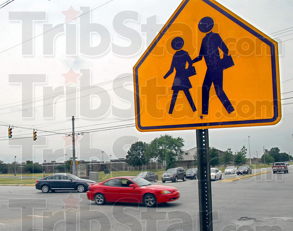 Dangerous crossing: Crossing sign located at one of the most dangerous intersections in Terre Haute, 7th Street at Davis Avenue.