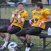 Tribune-Star/Rachel Keyes<br /> Talking it over: Terre Haute North's Chad Holler (left) and Dillion Hare (right) discuss a play on the sidelines at the Wabash Valley All-star Game.