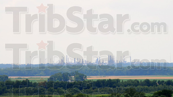 Tribune-Star/Jim Avelis<br /> Grand view: The view from the Merom Bluff Park looking west reveals the Marathon refinery in Robinson, about 11 miles distant.