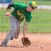 Tribune-Star/Jim Avelis<br /> Stopper: North central shortstop Zach Lyday stops a ground ball.