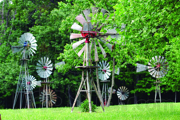 Multiple mills: Detail photograph of several windmills on Neal Yerian's rural Clay County property.